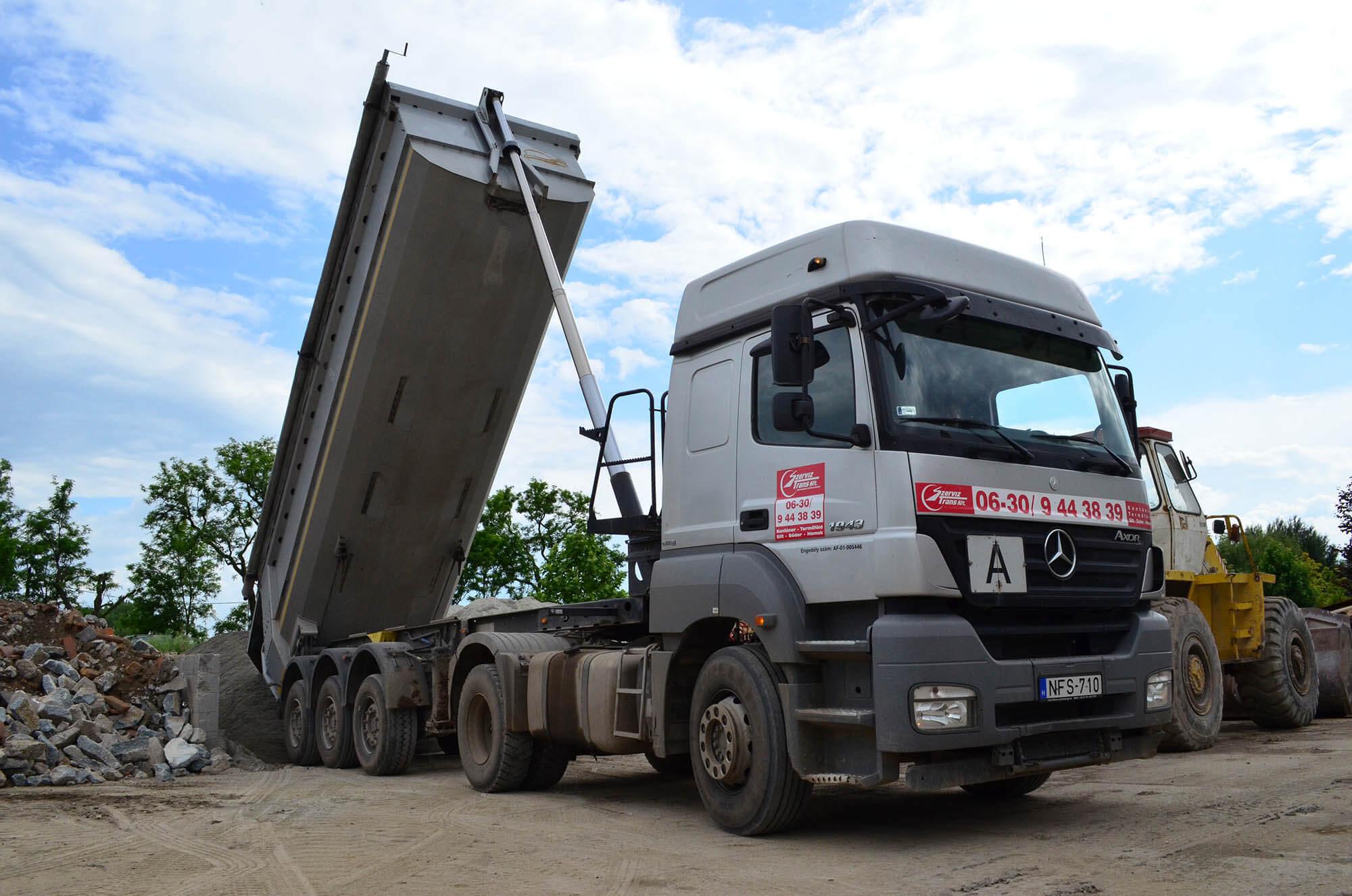 termőföld szállítás homokszállítás sóderszállítás Budapest